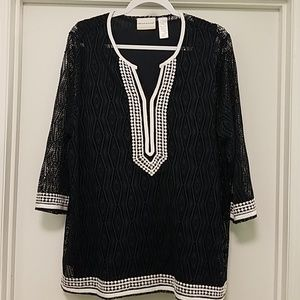 EUC Navy and white crocheted tunic